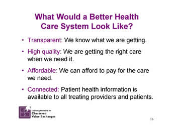 Slide 16: What Would a Better Health Care System Look Like?