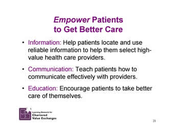 Slide 21: Empower Patients to Get Better Care