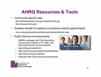 Slide 26: AHRQ Resources and Tools