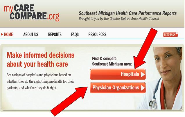 Screenshot of MyCareCompare.org home page that allows user to select hospitals or physician organizations. Includes a photo of a female physician.