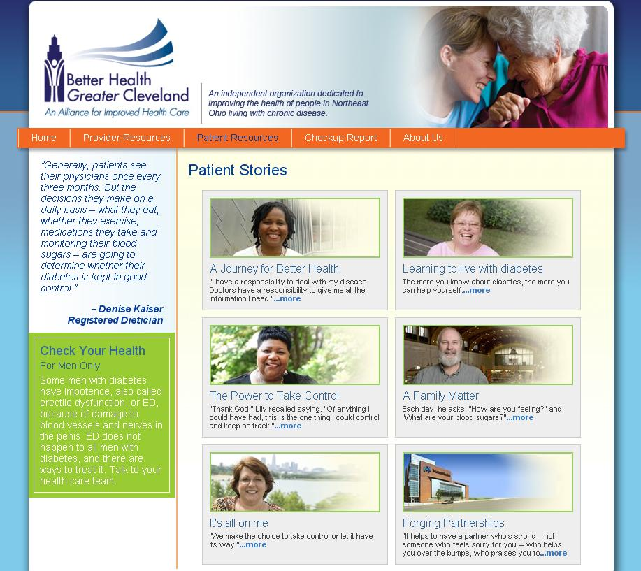 Screenshot of the D5 Web page with the five goals for living well with diabetes. An arrow points to the five goals of controlling blood pressure, cholesterol, and blood sugar, being tobacco free, and taking aspirin daily. The page also has link to view clinics to compare their performance on D5 goals.