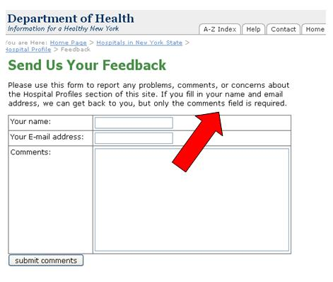 Screenshot of New State Department of Health feedback form. An arrow points to the text indicating that name E-mail address are optional.