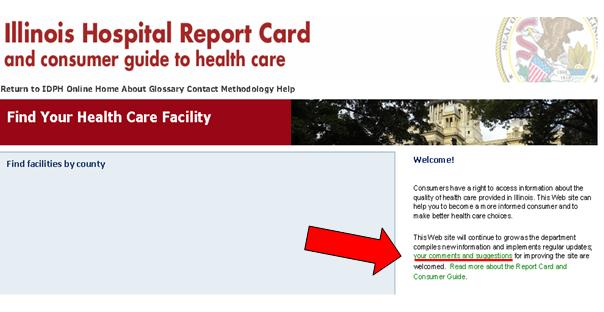 Screenshot of Illinois Hospital Report Card Web site welcome screen. An arrow points to a link to a comment form.