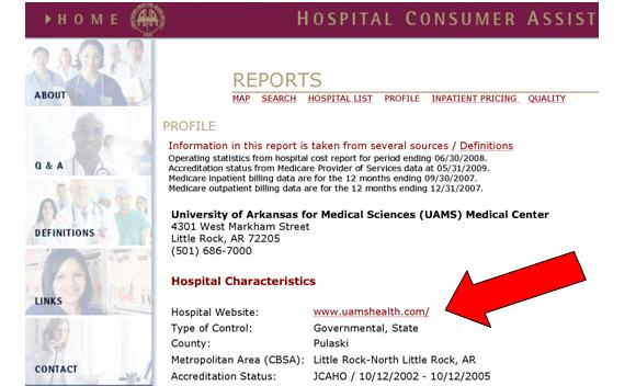 Example of hospital information page highlighting hospital address and link to hospital Web site.