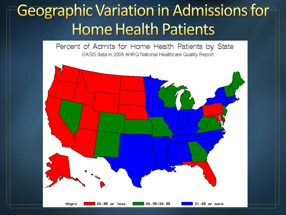 Map of the United States showing percentage of admits for home health patients by State