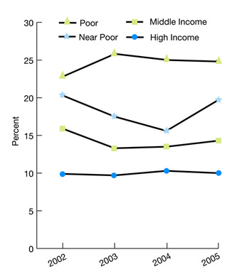 Income. Poor, 2002, 22.8%, 2003, 25.8%, 2004, 25.0%, 2005, 24.8%, Near poor, 2002, 20.3%, 2003, 17.5%, 2004, 15.6%, 2005, 19.7%, Middle income, 2002, 15.9%, 2003, 13.3%, 2004, 13.5%, 2005, 14.3%, High income, 2002, 9.9%, 2003, 9.7%, 2004, 10.3%, 2005, 10.0%.