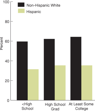 Bar charts. percentage.  Non-Hispanic white, less than high school, 59.6; high school grad, 62.0; at least some college, 64.3; Hispanic, less than high school, 31.2; high school grad, 35.2; at least some college, 35.1.