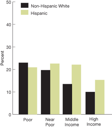 Bar chart. percentages; Non-Hispanic White;  Poor, 23.0; Near Poor, 19.6; Middle income, 13.5; High income, 10.0; Hispanic; Poor, 20.9; Near Poor, 22.5; Middle income, 22.1; High income, 15.2.