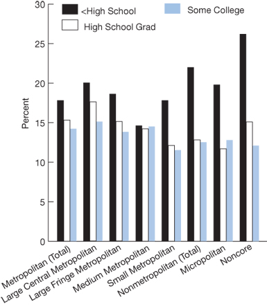 Metropolitan, Less Than High School, 17.8; High School Grad, 15.3; Some College, 14.2; Large Central Metropolitan, Less Than High School, 20.0; High School Grad, 17.6; Some College, 15.1; Large Fringe Metropolitan, Less Than High School, 18.6; High School Grad, 15.1; Some College, 13.8; Medium Metropolitan, Less Than High School, 14.6; High School Grad, 14.2; Some College, 14.5; Small Metropolitan, Less Than High School, 17.8; High School Grad, 12.1; Some College, 11.5; Nonmetropolitan, Less Than High Schoo