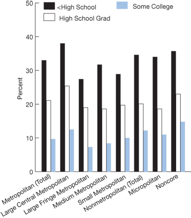 Education. Metropolitan (Total), less than High School, 33.0; High School Grad, 21.1; Some College, 9.7; Large Central Metropolitan, less than High School, 38.0; High School Grad, 25.4; Some College, 12.5; Large Fringe Metropolitan, less than High School, 27.4; High School Grad, 19.0; Some College, 7.3; Medium Metropolitan, less than High School, 31.7; High School Grad, 18.6; Some College, 8.4; Small Metropolitan, less than High School, 28.9; High School Grad, 19.7; Some College, 10.0; Nonmetropolitan (Tota