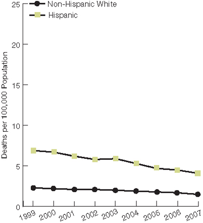 Trend line chart, deaths per 100,000, by ethnicity, 1999 through 2007. Non-Hispanic White, 1999, 2.3, 2000, 2.2, 2001, 2.1, 2002, 2.1, 2003, 2, 2004, 1.9, 2005, 1.8, 2006, 1.7, 2007, 1.5. Hispanic, 1999, 6.9, 2000, 6.7, 2001, 6.2, 2002, 5.8, 2003, 5.9, 2004, 5.3, 2005, 4.7, 2006, 4.5, 2007, 4.1.