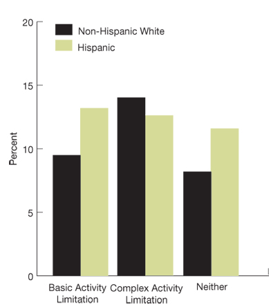 Bar chart, percentage of adult ambulatory patients who reported poor communication, by ethnicity/activity limitation, in 2007 (fourth of four charts): Non-Hispanic White, Basic Activity Limitation, 9.5, Complex Activity Limitation, 14.0, Neither, 8.2. Hispanic, Basic Activity Limitation, 13.2, Complex Activity Limitation, 12.6, Neither, 11.6.