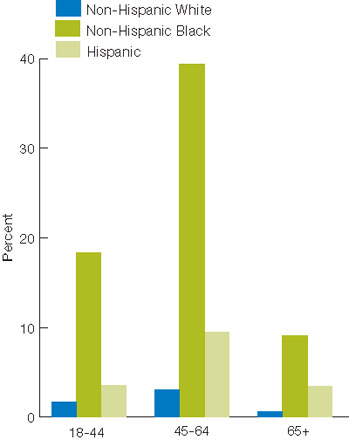 Figure 2.23. HIV infection deaths per 100,000 population, by ethnicity/gender and ethnicity/age, 2007. For details, go to [D] Text Description below.