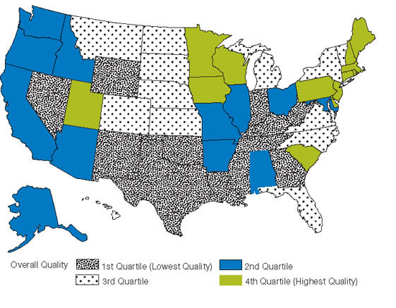 Figure H.8. Overall quality of care by State. First Quartile (Lowest Quality): Georgia, Indiana, Kentucky, Louisiana, Mississippi, Nevada, New Mexico, Oklahoma, Tennessee, Texas, West Virginia, Wyoming. Second Quartile: Alabama, Alaska, Arizona, Arkansas, California, Idaho, Illinois, Maryland, Missouri, Ohio, Oregon, Washington. Third Quartile: Colorado, Florida, Hawaii, Kansas, Michigan, Montana, Nebraska, New York, North Carolina, North Dakota, South Dakota, Vermont, Virginia. Fourth Quartile (Highest Qua