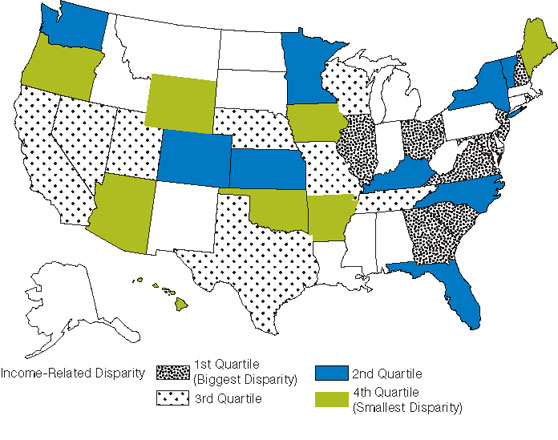 Figure H.9. Income-related disparities in quality of health care by State. First Quartile (Lowest Quality): Georgia, Illinois, Maryland, New Hampshire, New Jersey, Ohio, South Carolina, Virginia. Second Quartile: Colorado, Florida, Kansas, Kentucky, Minnesota, New York, North Carolina, Vermont, Washington. Third Quartile: California, Missouri, Nebraska, Nevada, Rhode Island, Tennessee, Texas, Utah, Wisconsin. Fourth Quartile (Highest Quality): Arizona, Arkansas, Hawaii, Iowa, Maine, Oklahoma, Washington, Wy